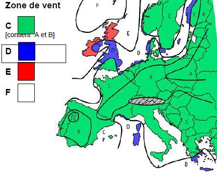 Carte des zones de vent