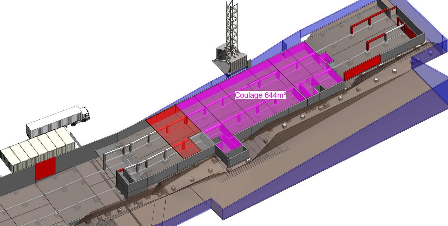 Phasage 3D cycle de construction d'un étage