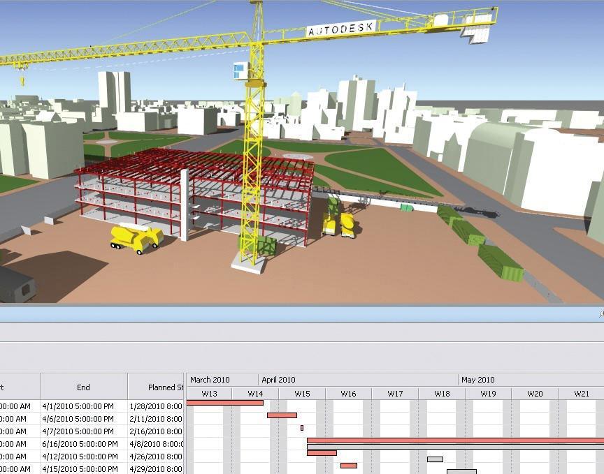 Planification 4D Navisworks : installation de chantier et diagramme de Gantt reliés !