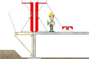 Une passerelle PTE pour coffrer un mur de façade