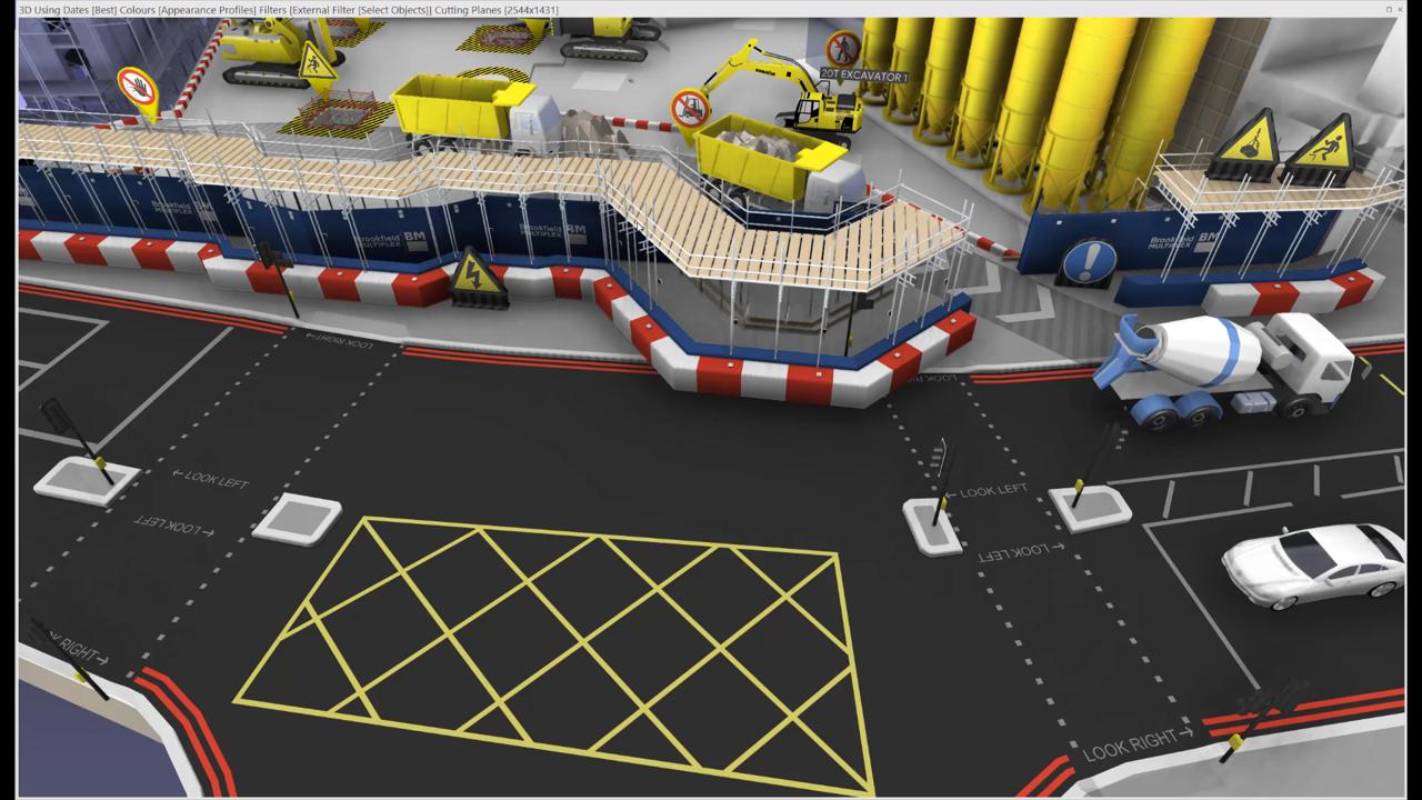 Plan de circulation de chantier 3D Crédits : James Bowles at Freeform www.freeform4d.co.uk