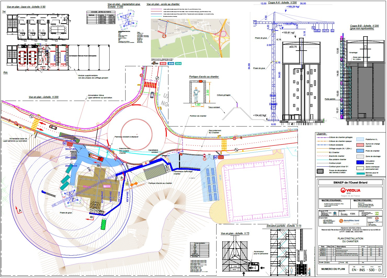 Plan d'installation de chantier d'un château d'eau - Sébastien Garnier