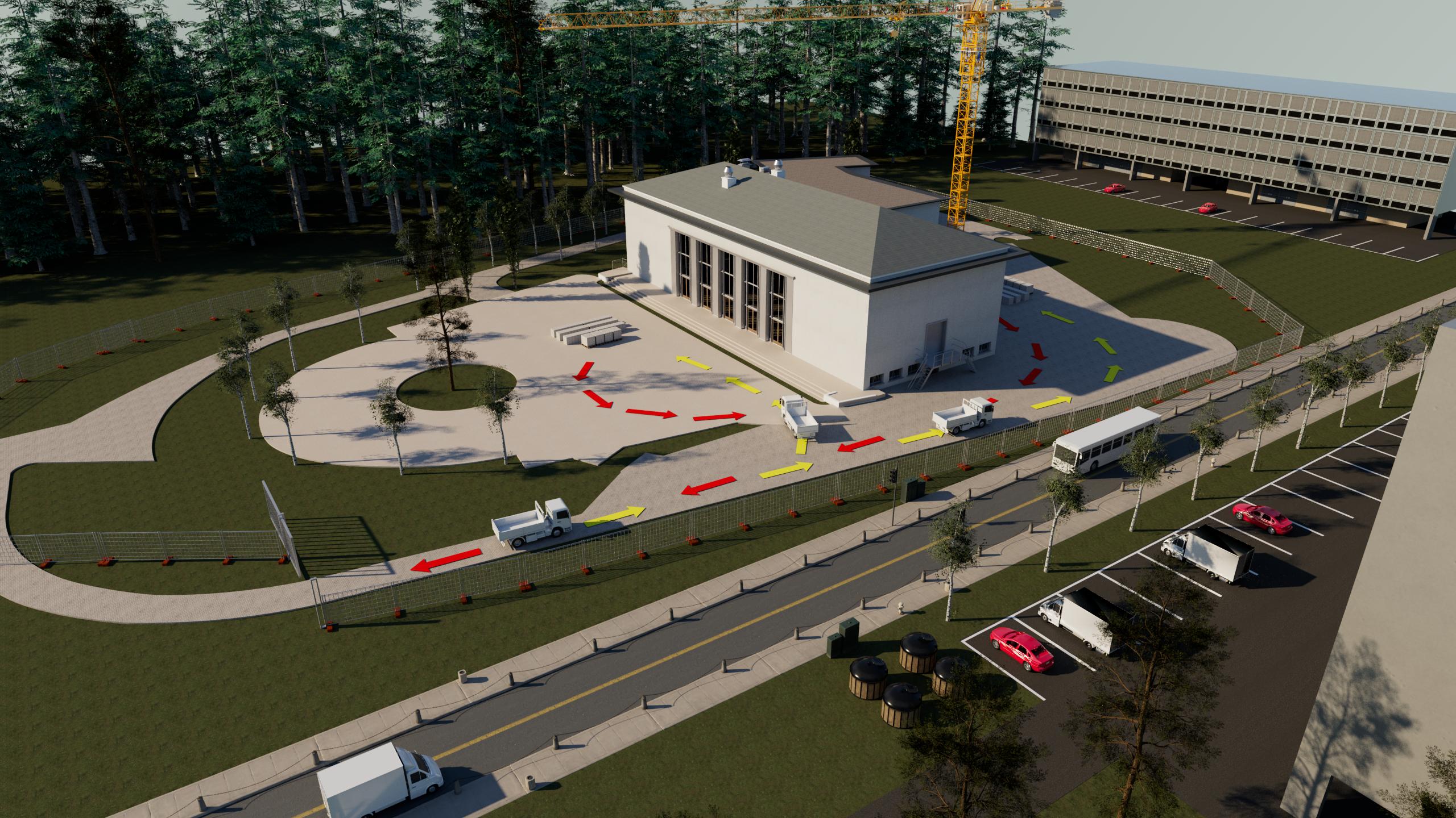 Plan de circulations d'engins sur installation de chantier 3D - Dylan MARTINS